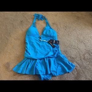 NWT Chaps Turquoise Swimsuit,Size 14